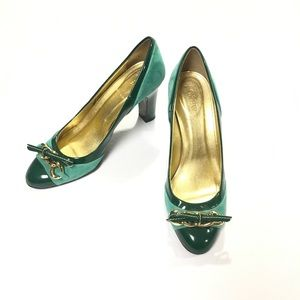 J.Crew Green Leather & Suede Gayle Pumps Size 8.5